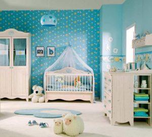 blue-wallpaper-white-convertible-crib-diy-nursery-concept-ideas-inspiring-nursery-designs-for-boys-nursery-designs-for-boys-nursery-room-humorous-wall-art-bedrooms-decor-finish-936x841